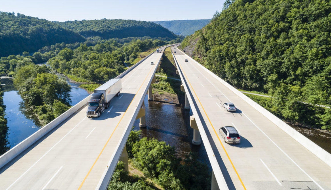 The aerial scenic view of the elevated highway on the high bridge over the Lehigh River at the Pennsylvania Turnpike.